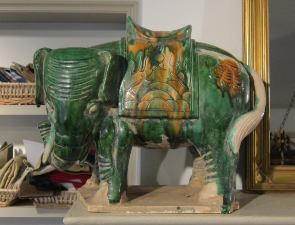Pair Chinese Tang-style Pottery Elephants