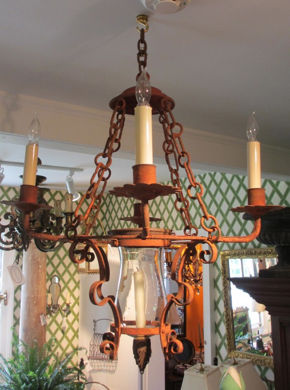 Antique Wrought Iron Spanish Electric, Natural Light Chandelier