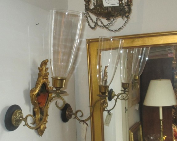 19th C Pair of English Brass Wall Sconces