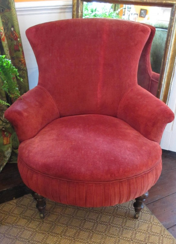 c1870 Carved Walnut Upholstered Slipper Chair