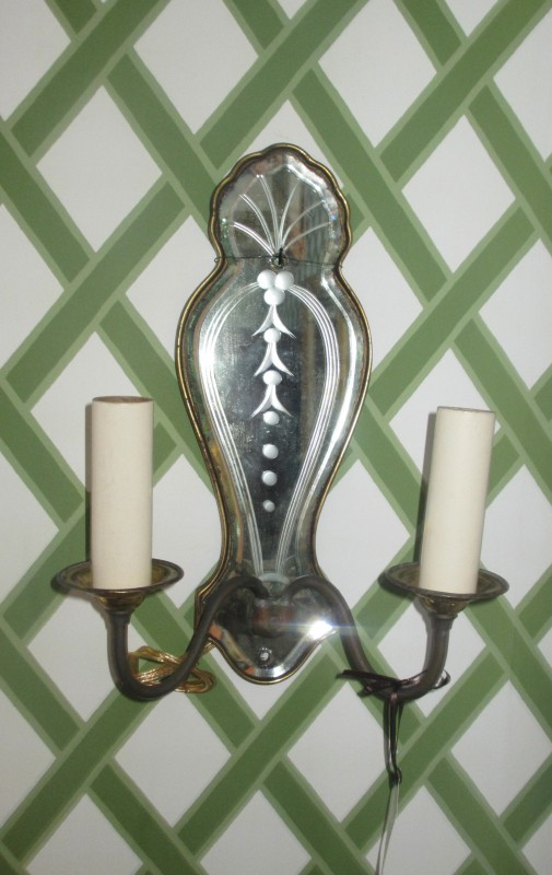 20th C Queen Anne Style Crystal & Brass Sconce
