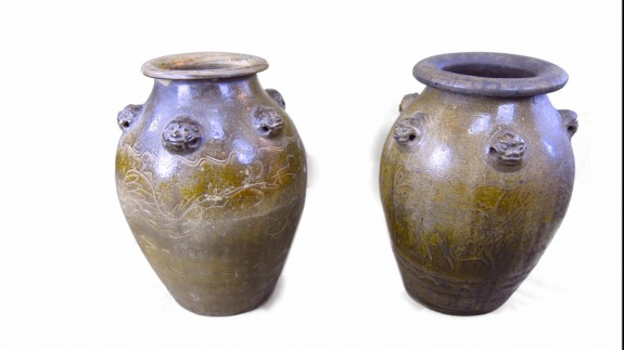 Pair 19th C Chinese Egg Jars