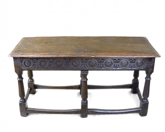 Rare Charles II Carved Oak Bench