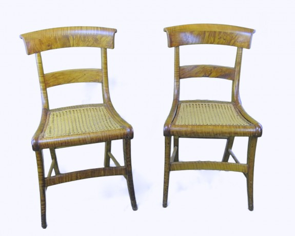 c 1840 Pair American Tiger Maple Chairs