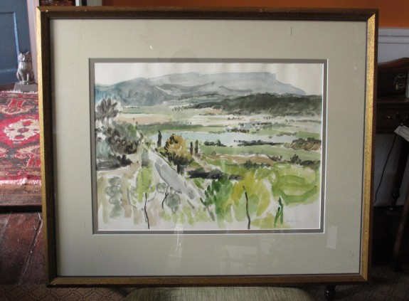 Watercolor, Seillons, France Landscape by Bill Bartsch
