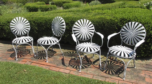 C1900 French Metal Garden Chairs - Antique, Vintage Patio Furniture And Accessories