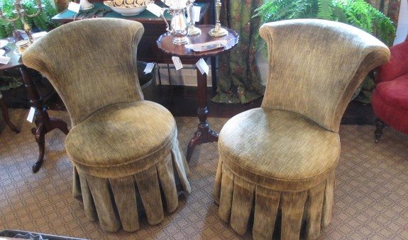Pair of Empire velvet skirted slipper chairs