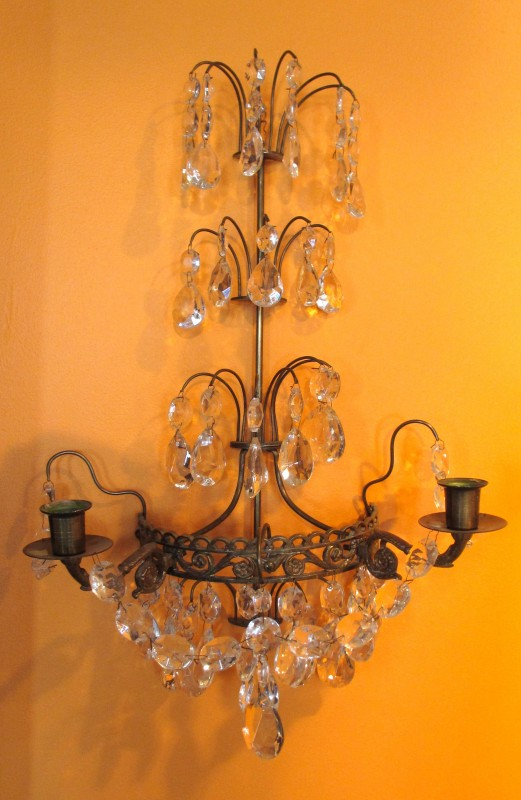 Pair Swedish Gilt, Brass and Crystal Candle Sconces