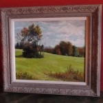 Bartsch Landscape Oil on Canvas, from West St., Warwick, NY, Orange County, Green Hill