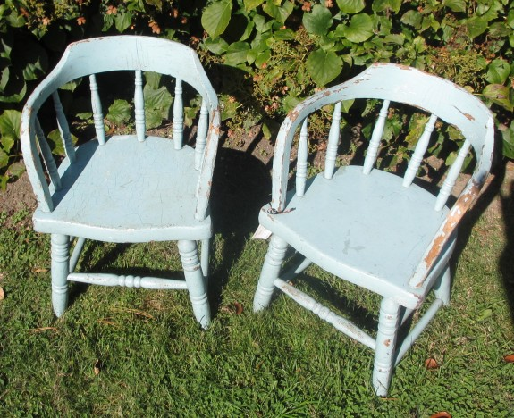 c1870 Firehouse Oak Children's Chairs, Blue