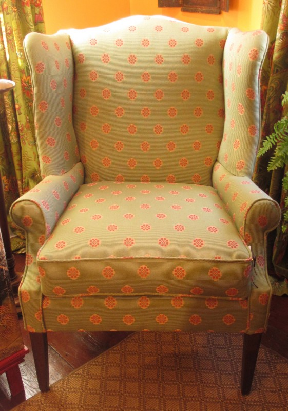 Upholstered Wing Chair, Brunschswig fabric, Green