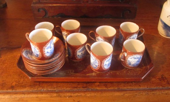 Set 8 Japanese Porcelain Coffee Cups and Saucers on Chinese Decorated Lacquer Tray