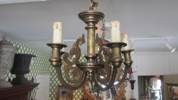 Vintage Brass 5 Arm Chandelier
