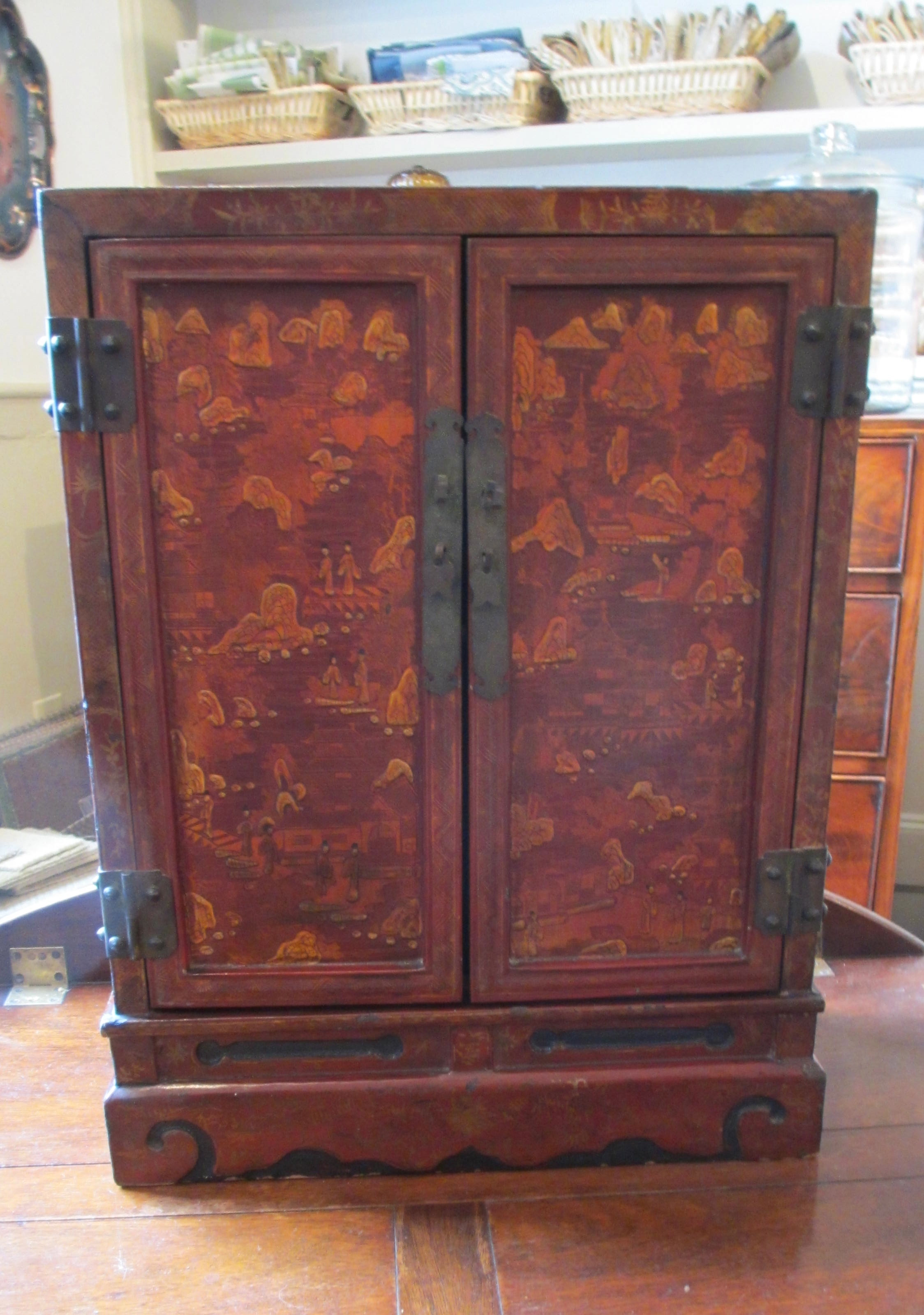 19th C Chinese Red Decorated Cabinet (Tabletop)