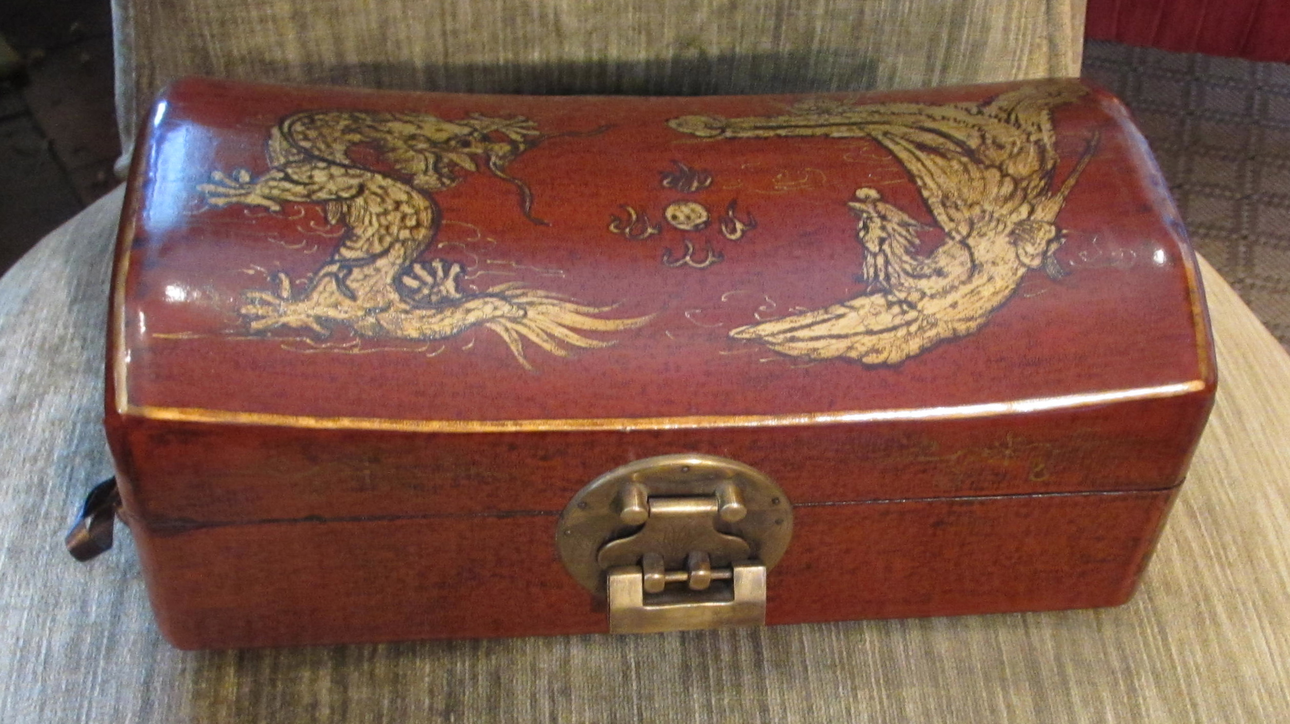 Chinese Decorated Pillowbox with Brass Mounts