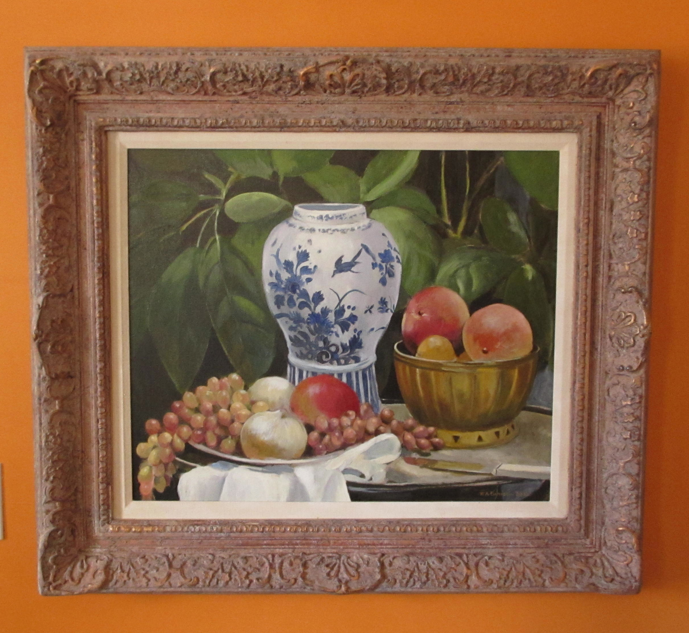 Bartsch Still Life, Oil on Canvas, Delft Jar and Fruit